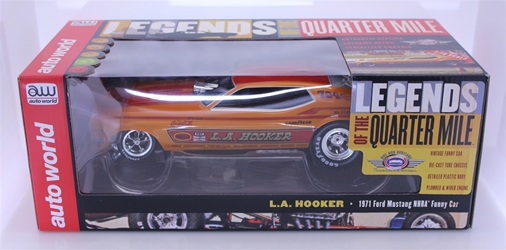 1971 LA Hooker Mustang Funny Car (Legends of 1/4 mile) 1:18 NHRA Diecast Auto World Legends of the 1/4 Mile nascar diecast, diecast collectibles, nascar collectibles, nascar apparel, diecast cars, die-cast, racing collectibles, nascar die cast, lionel nascar, lionel diecast, action diecast, university of racing diecast, nhra diecast, nhra die cast, racing collectibles, historical diecast, nascar hat, nascar jacket, nascar shirt