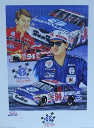 "Autographed Bill Elliott And Ron Barfield New Holland Racing  Original Artist Proof Remark Sam Bass 27""X 20"" Print w/ COA Autographed Bill Elliott And Ron Barfield New Holland Racing  Original Artist Proof Remark Sam Bass 27""X 20"" Print w/ COA"