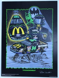 "Autographed Bill Elliott ""Thunderbat"" Original Sam Bass 29""X 21"" Print w/ COA Sam Bass, Bill Elliott, Thunderbat, Monster Energy Cup Series, Winston Cup, Poster"