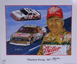 "Autographed Bobby Allison 1988 ""Daytona Sweep, 88""  Sam Bass Poster 20"" X 24"" W/ Nascar Numbered Hologram Sam Bass Poster, Autographed Bobby Allison 1988 ""Daytona Sweep, 88""  Sam Bass Poster 20"" X 24"" W/ Nascar Numbered Hologram"