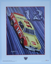 "Autographed Bobby Allison ""Real Thing!"" Original Sam Bass 25"" X 20"" Print w/ COA Sam Bass, Bobby Allison, Coca~Cola, Monster Energy Cup Series, Winston Cup, Poster"
