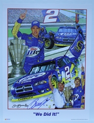 "Autographed Brad Keselowski ""We Did It!"" Original Sam Bass 24"" X 18"" Print w/ COA Sam Bass, Brad Keselowski, Miller Lite, Monster Energy Cup Series, Winston Cup, Poster"