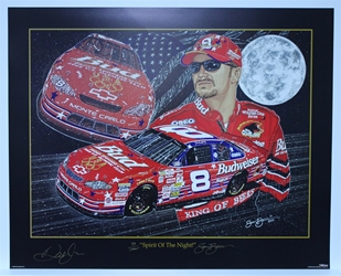 "Autographed Dale Earnhardt Jr ""Spirit of the Night"" Signed & Numbered in Gold Sam Bass 25"" X 31"" Print W/COA Sam Bass, Dale Earnhardt Jr, Budweiser, Monster Energy Cup Series, Winston Cup, Poster"
