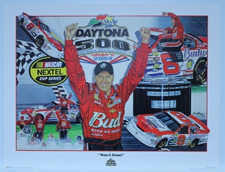 "Autographed Dale Earnhardt Jr ""Won & Done"" Original Sam Bass 27"" X 36"" Print w/ COA Sam Bass, Dale Earnhardt Jr, Dale Jr, Daytona, Monster Energy Cup Series, Winston Cup, Poster"