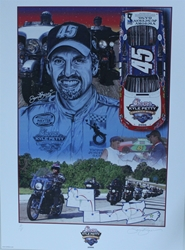 Autographed Kyle Petty 2006 Charity Ride Original Sam Bass Print 28 X 20 Autographed Kyle Petty 2006 Charity Ride Original Sam Bass Print 28 X 20