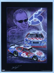 "Autographed Mark Martin ""Knights of Thunder"" Original Sam Bass 24"" X 18"" Print Sam Bass, Mark Martin, AAA, Monster Energy Cup Series, Winston Cup, Poster"