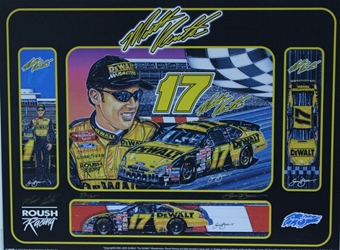 "Autographed Matt Kenseth 2003 Dewalt # 17 Original Numbered Sam Bass Print 24"" X 18"" w/COA/ Autographed Matt Kenseth 2003 Dewalt # 17 Original Numbered Sam Bass Print 24"" X 18"""