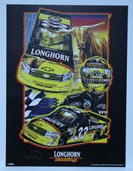 "Autographed Ron Hornaday ""Longhorn Racing"" Original Sam Bass 24"" X 18"" Print Sam Bass, Ron Hornaday, Longhorn Racing, Monster Energy Cup Series, Winston Cup, Poster"