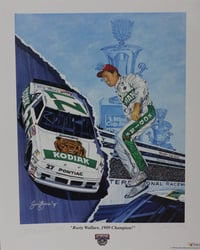 "Autographed Rusty Wallace "" 1989 Champion "" Numbered Sam Bass Print 22"" X 27.5"" w/ COA Autographed Rusty Wallace "" 1989 Champion "" Numbered Sam Bass Print 22"" X 27.5"" w/ COA"