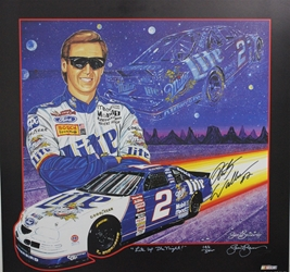 "Autographed Rusty Wallace 1997  "" Lite Up The Night "" Numbered Sam Bass Print 26"" X 25"" w/ COA Autographed Rusty Wallace 1997  "" Lite Up The Night "" Numbered Sam Bass Print 26"" X 25"" w/ COA"
