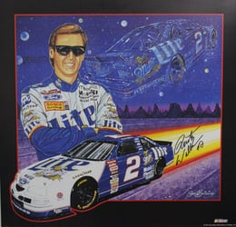 "Autographed Rusty Wallace 1997  "" Lite Up The Night "" Sam Bass Print 26"" X 25"" w/ COA Autographed Rusty Wallace 1997  "" Lite Up The Night "" Sam Bass Print 26"" X 25"" w/ COA"