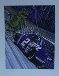 "Autographed Rusty Wallace 1997 "" Monster Slayer "" Original Sam Bass Print 21"" X 27"" w/ COA Autographed Rusty Wallace 1997 "" Monster Slayer "" Original Sam Bass Print 21"" X 27"" w/ COA"