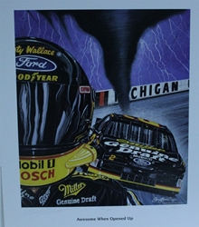 "Autographed Rusty Wallace ""Awesome When Opened Up!"" Original  Numbered Sam Bass Print 26"" X 23"" w/ COA Autographed Rusty Wallace ""Awesome When Opened Up!"" Original  Numbered Sam Bass Print 26"" X 23"" w/ COA"