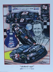 "Autographed Rusty Wallace "" Dolled Up "" 2003 Original Numbered Sam Bass Print  21"" X 27"" w/ COA Autographed Rusty Wallace ""Party Convention"" Original Numbered Sam Bass 27"" X 21"" Print w/ COA"