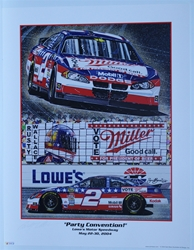 "Autographed Rusty Wallace ""Party Convention"" Original Sam Bass 27"" X 21"" Print w/ COA Sam Bass, Rusty Wallace, Miller Lite, Monster Energy Cup Series, Winston Cup, Poster"