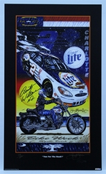 "Autographed Rusty Wallace ""Two for the Road"" Numbered out of 500 Original Sam Bass 29"" X 17"" Print Sam Bass, Rusty Wallace, Miller Lite, Monster Energy Cup Series, Winston Cup, Poster"