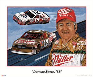 "Bobby Allison 1988 ""Daytona Sweep, 88"" Sam Bass Poster 20"" X 24"" Sam Bas Poster"