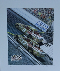 "Bobby Allison 1988 "" ... Into The New "" Numbered Sam Bass Print 23"" X 17.5"" Bobby Allison 1988 "" ... Into The New "" Numbered Sam Bass Print 23"" X 17.5"""