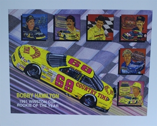 "Bobby Hamilton 1991 Winston Cup Rookie Of The Year Original Sam Bass 23"" X 28"" Print Bobby Hamilton 1991 Winston Cup Rookie Of The Year Original Sam Bass 23"" X 28"" Print"