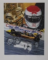 "Bobby Rahal 93 The Milwaukee Mile ""Looking Back"" Indy Race Artist Proof Sam Bass Print 27"" x 21"" Bobby Rahal 93 ""The Milwaukee Mile"" Indy Race Artist Proof Sam Bass Print 27"" x 21"""