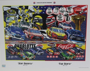 "Charlotte Motor Speedway 2015 "" Star Gazers!"" And "" Top Stars!"" Double Sam Bass Poster  18"" X 24"" Charlotte Motor Speedway 2015 "" Star Gazers!"" And "" Top Stars!"" Double Sam Bass Poster  18"" X 24"""