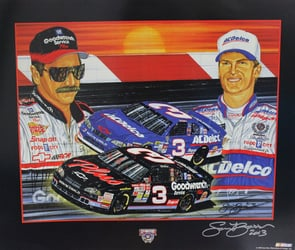 "Dale Earnhardt 1998 & Dale Earnhardt Jr. ""Rising Son"" Autographed by Sam Bass Poster 22"" X 26"" Sam Bass Poster, Dale Earnhardt 1998 & Dale Earnhardt Jr. ""Rising Son"" Autographed by Sam Bass Poster 22"" X 26"""