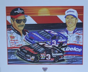"Dale Earnhardt & Dale Earnhardt Jr ""Rising Son"" 22"" X 26"" Original 1998 Sam Bass Print Sam Bass, Intimidator, Earnhardt Sr., 1987, Monster Energy Cup Series, Winston Cup,Poster, The Count of Monte Carlo, Champion, Ralph, Dale Earnhardt & Dale Earnhardt Jr ""Rising Son"" 22"" X 26"" Original 1998 Sam Bass Print"