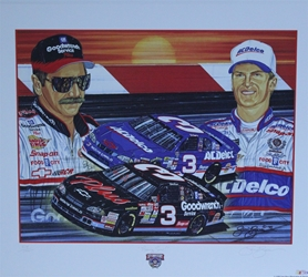 "Dale Earnhardt & Dale Earnhardt Jr ""Rising Son"" 22"" X 26"" Original Numbered 1998 Sam Bass Print Sam Bass, Earnhardt Sr. Monster Energy Cup Series, Winston Cup,Poster, The Count of Monte Carlo, Champion, Ralph, Dale Earnhardt & Dale Earnhardt Jr ""Rising Son"" 22"" X 26"" Original Numbered 1998 Sam Bass Print"