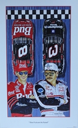 "Dale Earnhardt & Dale Earnhardt Jr ""The Future is Now"" Original Numbered 2000 Sam Bass 33"" X 20"" Print Dale Earnhardt & Dale Earnhardt Jr ""The Future is Now"" Original Numbered 2000 Sam Bass 33"" X 20"" Print"
