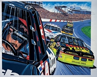 "Dale Earnhardt and Kyle Petty 1993 ""Eye Of The Storm"" Sam Bass Poster 23"" X 24"" Sam Bas Poster"