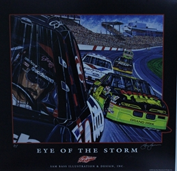 "Dale Earnhardt and Kyle Petty ""Eye Of The Storm"" Original Artist Proof Sam Bass Print 23"" X 24"" s Dale Earnhardt and Kyle Petty ""Eye Of The Storm"" Original Artist Proof Sam Bass Print 23"" X 24"""