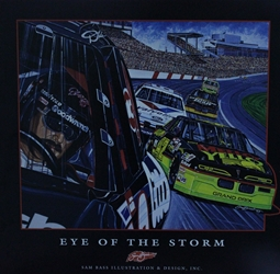 "Dale Earnhardt and Kyle Petty ""Eye Of The Storm"" Sam Bass Print 23"" X 24"" s Dale Earnhardt and Kyle Petty ""Eye Of The Storm"" Original Sam Bass Print 23"" X 24"""