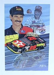 "Davey & Bobby Allison ""Winning Tradition"" Artist Proof Original Sam Bass 30"" X 21"" Print Sam Bass, Davey Allison, Bobby Allison, Monster Energy Cup Series, Winston Cup, Poster"