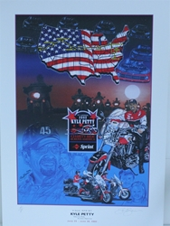 Kyle Petty 2002 Across America Charity Ride Original  Sam Bass Print 28 X 20 Kyle Petty 2002 Across America Charity Ride Original  Sam Bass Print 28 X 20