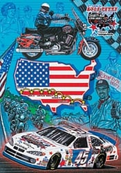 "Kyle Petty 2003 ""Charity Ride 03"" Sam Bass Poster 28"" X 20"" Sam Bas Poster"