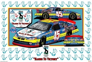 "Kyle Petty 2003 ""Hands To Victory"" Sam Bass Poster 17"" X 25"" Sam Bas Poster"