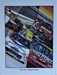 """ May 1999- A Month Of Speed "" Sam Bass Numbered Print 27"" X 21"" "" May 1999- A Month Of Speed "" Sam Bass Numbered Print 27"" X 21"""