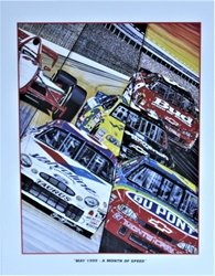 """ May 1999- A Month Of Speed "" Sam Bass Print 27"" X 21"" "" May 1999- A Month Of Speed "" Sam Bass Print 27"" X 21"""