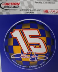 Michael Waltrip #15 3x3 Circle Sticker Nascar, nascar decal, nascar sticker, nascar keychain, wincraft