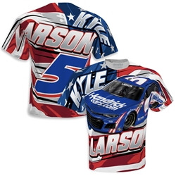 *Preorder* Kyle Larson HendrickCars.com Sublimated Patriotic Total Print Adult Tee Kyle Larson, shirt, tee, Checkered Flag Sports