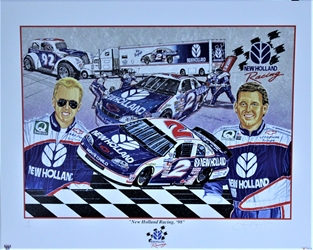 "Ricky Craven And Ron Barfield New Holland Racing 1998 Sam Bass Artist Proof Print  27""X 20"" Ricky Craven And Ron Barfield New Holland Racing 1998 Sam Bass Artist Proof Print  27""X 20"""