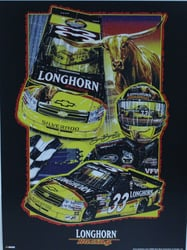 "Ron Hornaday 2009 "" Longhorn Racing "" Original Sam Bass Print 18"" X 24"" Ron Hornaday 2009 "" Longhorn Racing "" Original Sam Bass Print 18"" X 24"""