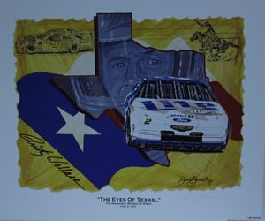 "Rusty Wallace  1997 "" The Eyes Of Texas "" Original Numbered Sam Bass Print 26.5"" X 22.5"" Rusty Wallace  1997 "" The Eyes Of Texas "" Original Numbered Sam Bass Print 26.5"" X 22.5"""