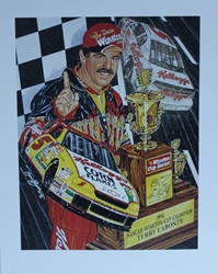 "Terry Labonte 1996 Winston Cup Champion "" Silver And Gold "" Original Sam Bass Print 27"" X 21"" Terry Labonte 1996 Winston Cup Champion Original Sam Bass Print 27"" X 21"""